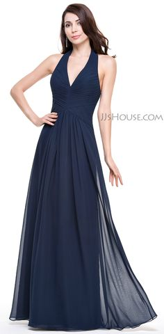 Dark Navy A Line Princess Halter Floor Length Chiffon Evening Dress Ruffle  Harry Dress 4a54ffafa4