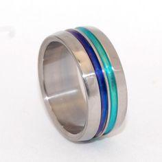 Get your team's colors on your titanium wedding band!  Custom Titanium Wedding Bands  Handmade in Boston by Minter & Richter