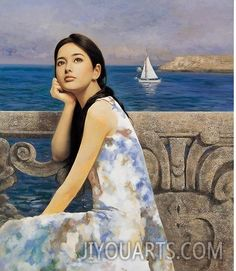 Girl by the sea, Chu Yu Xie, Oil Painting Reproduction,Handmade,Gallery,Art