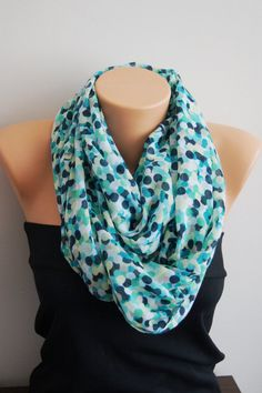 Green Dot Scarf Spring Scarf Summer  Infinity by SpecialFabrics