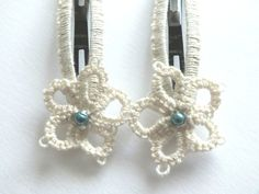 Ivory Tatting Hair Clips Set of Two Flower Tatted by Hermitinas
