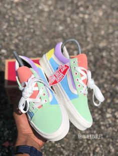 Custom pastel colored old Skopje vans 😍❤️ Vans Sneakers, Vans Customisées, Cute Sneakers, Sneakers Fashion, Sock Shoes, Shoe Boots, Shoes Heels, Van Shoes, Pastel Vans