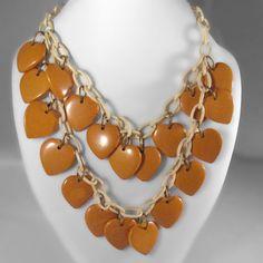 Yellow Bakelite HEARTS Necklace. On my wish list.
