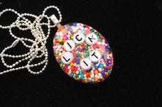 Sprinkle Oval Necklace Valentine Day LICK IT by tranquilityy