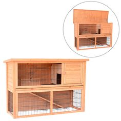 PawHut 54'' Wooden Rabbit Hutch Wood Water Resistant Pet House 4 Door W /Ramp in Pet Supplies, Small Animal Supplies, Cages & Enclosure   eBay