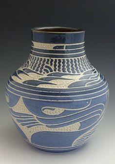 Charles Smith Pottery--Blue Designed Vase 2012.