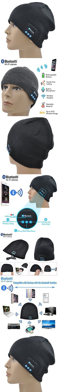 XIKEZAN Bluetooth Beanie Hat Wireless Washable Knit Cap Winter Hats With Built in Stereo Speakers Headphones & Earphones Christmas Gifts (Black)