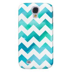 Modern Blue Watercolor Chevron Samsung Galaxy S4