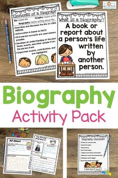 Use this biography pack to teach note taking, research, writing, & more. Your 2nd, 3rd, 4th, and 5th grad eustdnets will be engaged in learning about others' lives. You get posters, organization pages, hands-on interactive activities, easily differentiated pages, and more. This download is a great way to cover a variety of content areas for one great culminating project. Grab it today to use with your second, third, fourth, or fifth graders. #Biography #Elementary #Research