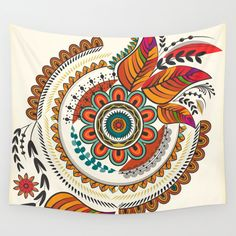 """*Original+Artwork+by+India+Based+Artist    60""""+x+51""""    100%+lightweight+polyester  Printed+top,+finished+edge,+fine+line+detail+and+intense+vivid+colors  Cold+gentle+machine+wash,+line+or+tumble+dry+on+low,+don't+bleach+or+iron  Call+it+a+wall+tapestry+or+a+wall+hanging,+it's+awesome+either+way"""