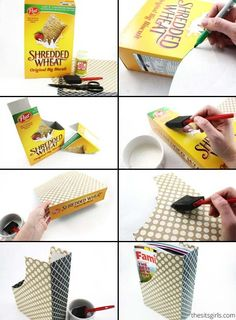 Need a magazine holder? Just repurpose old cereal boxes by adding some fun wrapping paper.