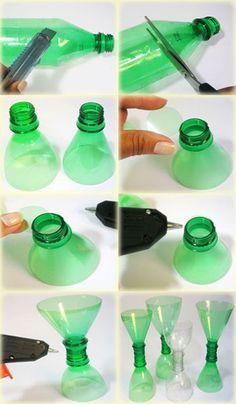 passos castiçal de garrafa pet Mais