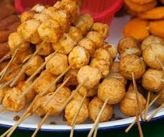 Bola-bola - made either with fish, squid, or chicken rolled into balls and placed on sticks. These are deep fried and sold commonly on street sides.