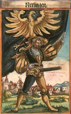 """Nördlingen [Nerlingen] (f°59) -- Koebel, Jacob, """"Wapen des heyligen römischen Reichs teutscher Nation"""", Franckfurth am Main, 1545 [BSB Ms. Rar. 2155]"""
