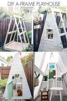 DIY A-Frame Play House - DIY A Frame Play House. This outdoor playhouse is easy and cheap to make and is perfect for boys or - : DIY A-Frame Play House - DIY A Frame Play House. This outdoor playhouse is easy and cheap to make and is perfect for boys or - Backyard Playhouse, Build A Playhouse, Backyard Playground, Backyard For Kids, Diy Easy Playhouse, Kids Playhouse Plans, Backyard Fort, Childrens Outdoor Playhouse, Childrens Play Area Garden