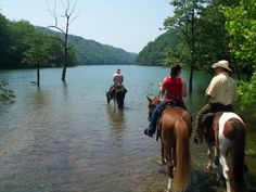 While their horses enjoy the cool water, these riders drink in the beauty of Fontana Lake and the surrounding Smoky Mountains. The Great Smoky Mountains National Park has more than 800 miles of trails, and most are open to horseback riding. Water features — streams, cascades, waterfalls — are plentiful, including the massive Fontana Lake with its more than 240 miles of shoreline. Near Bryson City, NC.