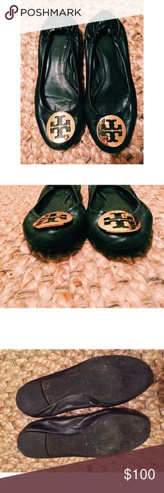Tory Burch Reva Flats Classic Tory Burch flats are a great wardrobe staple and the black and gold color combination will never go out of style. Flats are worn on bottom and leather is pulling a bit off of tips of toes. Tory Burch Shoes Flats & Loafers