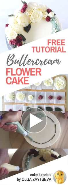 HOT CAKE TRENDS How to make Buttercream White Christmas wreath cake - Cake decorating tutorial by Olga Zaytseva. Learn how to make buttercream roses, pipe chrysanthemums and create this Christmas wreath cake in white. Buttercream Decorating, Cake Decorating Designs, Buttercream Flower Cake, Cake Decorating Techniques, Cake Designs, Cookie Decorating, Decorating Ideas, Buttercream Frosting, Cupcakes Decorating