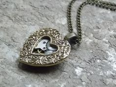 Small Heart Necklace Steampunk Jewelry Clockworks Valentines Brass Etsy