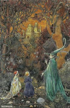 Art by Helen Jacobs (1888-1970): The Mermaid Girl and The enchanted wood