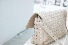 Studded soft nude leather