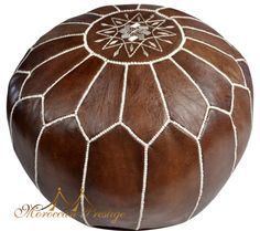 BK Brown Moroccan Leather Pouf