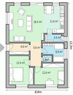 projekt rodinneho domu EKO85 One Floor House Plans, House Plans For Sale, House Layout Plans, Small House Plans, House Layouts, Modern Bungalow House, Model House Plan, Apartment Floor Plans, Narrow House