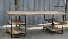 Custom Made Reclaimed Wood (Oak) Desk With Shelves. Steel. Custom Dimensions/Configurations.