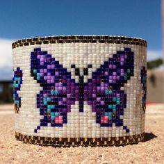 Butterflies Bead Loom Bracelet Bohemian Boho Artisanal Jewelry Indian Western Beaded Tribal Southwestern Purple Pink Blue Santa Fe by PuebloAndCo on Etsy https://www.etsy.com/listing/237207033/butterflies-bead-loom-bracelet-bohemian