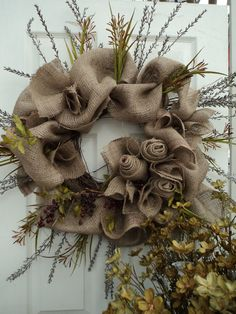 Autumn Wreath made with Burlap, Dried Flowers & Berries autumn fall fall decorating fall decorations front door entrance wreath fall crafts diy Burlap Projects, Burlap Crafts, Wreath Crafts, Diy Wreath, Autumn Wreaths, Christmas Wreaths, Christmas Crafts, Christmas Decorations, Wreath Fall