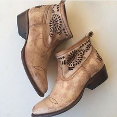 Western Cut Out Ankle Boots Brand new without box. Leather upper and soles. Very cute, distressed style. These are not only super cute and unique but also very comfortable. Me and my friends have them and love love them! These are by Matisse a brand carried by FP sometimes. Free People Shoes