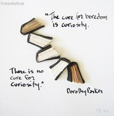 """The cure for boredom is curiosity. There is no cure for curiosity."" - Dorothy Parker"