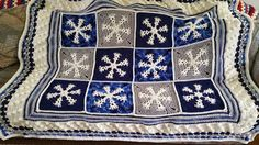 """From fan Anne Marie Lemke: """" I just finished The Snowflake Throw made with Red… Crochet Square Blanket, Crochet Quilt, Crochet Home, Crochet Gifts, Cute Crochet, Afghan Patterns, Crochet Patterns, Knitted Blankets, Crocheted Afghans"""