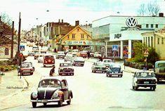 Hordaland fylke Stavanger Hillevåg med biltrafikk og VW-forhandler 1960-tallet