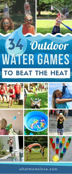 Outdoor Water Games for Kids | Stay cool this summer with these fun backyard water games. Easy and simple to set-up with minimal DIY - most don't need a swimming pool, just a hose, squirt gun or water balloon! Perfect for toddlers to teens - simple for a summer birthday party too. #water #kidsactivities #summerfun  #games