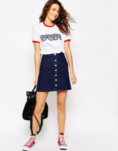 ASOS+Denim+A-Line+Mini+Skirt+With+Button+Front+And+Pockets+In+Indigo