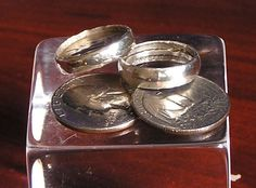 spoons, coins, nice silver, weddings, metals, the edge, metal file, silver band, silver rings