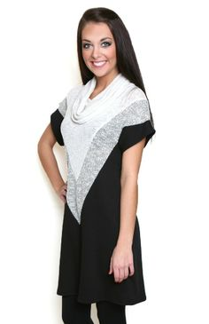 04ea025c446a9 Three in One Tunic Dress  slightly sparkly sweater tunic dress from  Flourish Boutique. Perfect to wear with black leggings and boots.