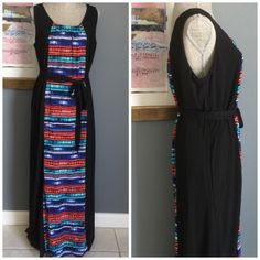 """Luxology Maxi Silky maxi from Luxology .  Deep black with colorful center .  Back mirrors the front .  Matching fabric belt .  Fully lined .  Measures 59"""" from shoulder to hem .  Made of 100% polyester .  Machine wash/dry .  ✨Also available in my closet in sizes Small & Large✨ Luxology Dresses"""