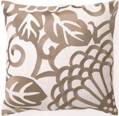 Chrysanthemum Taupe Embroidered Linen Pillow