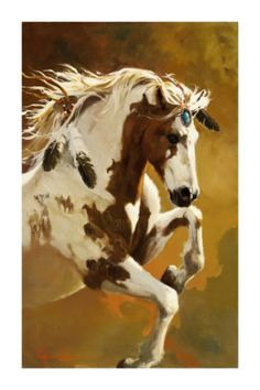 A gorgeous art print and if you look closely you will see Native Americans on the upper leg and neck of this beautiful horse