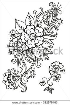 Set of Mehndi flower pattern for Henna drawing and tattoo. Decoration in ethnic oriental, Indian style. Mandala Tattoo Design, Dotwork Tattoo Mandala, Henna Tattoo Designs, Mehndi Designs, Mehndi Flower, Flower Mandala, Mandala Art, Henna Mandala, Mandala Stencils