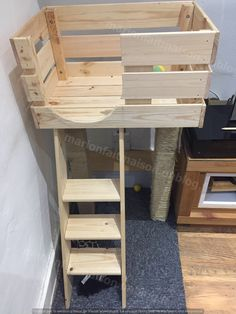 DIY cat tree - Here is our homemade cat tree! The case: purchased from Ikea. The scratching posts: 2 cleats, sisal - Cat Tree House, Cat House Diy, Cat Tree Condo, Cat Condo, Cat Trees Diy Easy, Diy Jouet Pour Chat, Diy Cat Tower, Diy Guinea Pig Cage, Cat Tree Plans