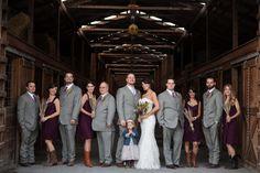 Barn wedding bridal party