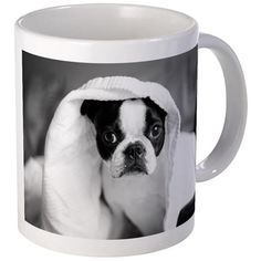 Boston Terrier black and white puppy mug.  Perfect gift idea for a dog or puppy lover or anyone who is owned by a boston terrier!