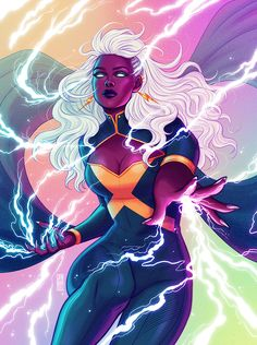 """jenbartel: """"""""I am the gathering tempest—I am the howling wind, the roar of the rain, the voice of THUNDER!"""" ⚡️✨ Storm print debuting at SDCC next week! """""""