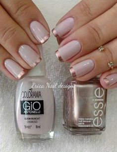 Nail Art Designs 💅 - Cute nails, Nail art designs and Pretty nails. Fancy Nails, Trendy Nails, Stylish Nails, Rose Gold Nails, Pink Nails, Gold Tip Nails, Gold Manicure, Manicure Colors, Nail Colour
