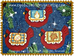 CC149 - Wynter Birdies Ornaments - Painting E Pattern - pinned by pin4etsy.com