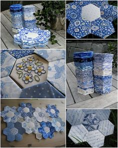 blue hexagon quilt. liking the embroidery detail