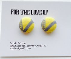 Womens stud earrings with a gorgeous grey and yellow design. by ForTheLuvOf. Giveaway on my Etsy page so visit www.etsy.com/shop/ForTheLuvOf. Available for 1 week only. #giveaway #freebie #earrings #studs #etsy #womensjewelery